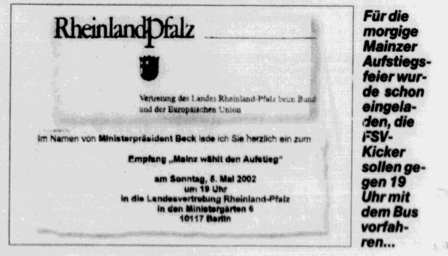 Einladung zur Aufstiegsfeier in die Landesvertretung Rheinland-Pfalz