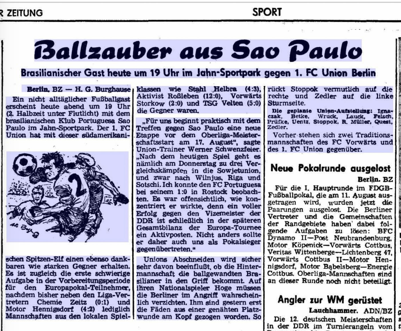 Der Vorbericht der Berliner Zeitung zum Spiel gegen Sao Paulo vom 16.7.1968, Bild: Berliner Zeitung