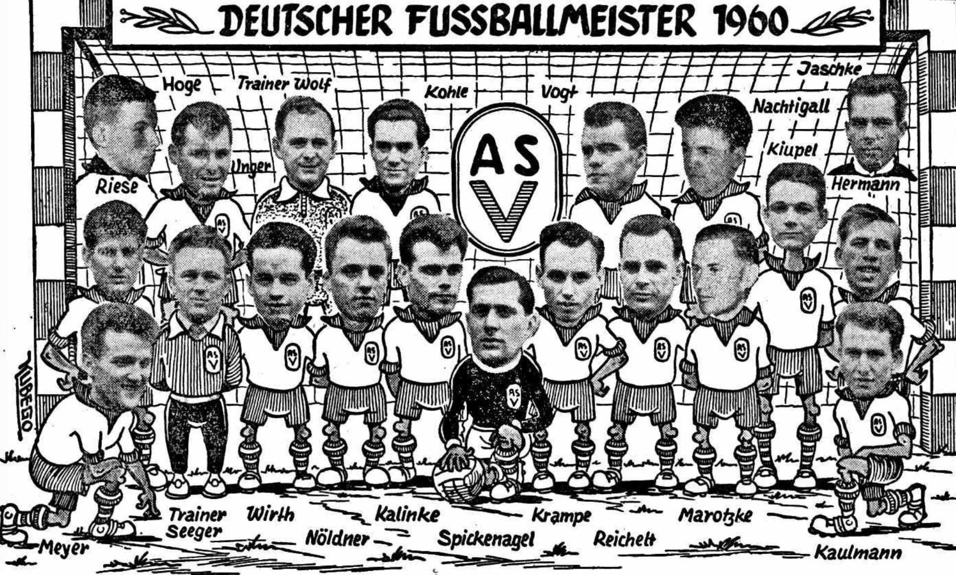 Günter Hoge oben links auf dem Meisterbild von 1960