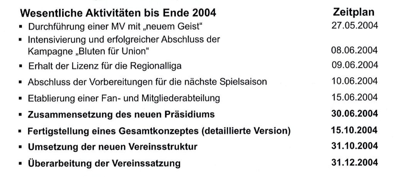 Zeitplan für die Umsetzung der ersten Maßnahmen im Jahr 2004, Screenshot: Programmheft des 1. FC Union Berlin